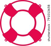 lifebelt icon red and white  | Shutterstock .eps vector #791013658