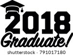 2018 graduate in black with... | Shutterstock .eps vector #791017180