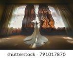 bride opens brown curtains... | Shutterstock . vector #791017870