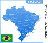 the detailed map of the brazil... | Shutterstock .eps vector #791020666