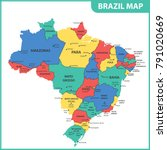 the detailed map of the brazil... | Shutterstock .eps vector #791020669