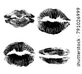 set of lips or lip shaped women ... | Shutterstock .eps vector #791026999
