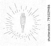 hand drawn symbol of usb plug   ...   Shutterstock .eps vector #791029486