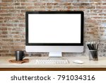 mock up  workspace desktop... | Shutterstock . vector #791034316
