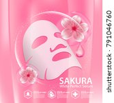 sakura nature serum  collagen... | Shutterstock .eps vector #791046760