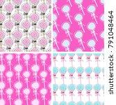 doodle pattern lollipop vector    Shutterstock .eps vector #791048464
