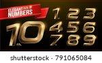 set of metal numbers alphabet... | Shutterstock .eps vector #791065084