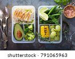 healthy green meal prep... | Shutterstock . vector #791065963