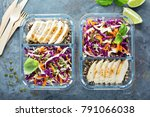 healthy meal prep containers... | Shutterstock . vector #791066038