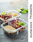 healthy meal prep containers... | Shutterstock . vector #791066056