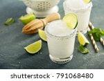 frozen lime and mint margarita... | Shutterstock . vector #791068480