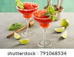 frozen strawberry lime basil... | Shutterstock . vector #791068534