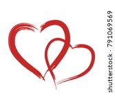 red vector grunge heart shape...   Shutterstock .eps vector #791069569