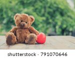 brown cute teddy bear with red... | Shutterstock . vector #791070646