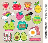 Stock vector set of cute cartoon badges fun food character vector girl fashion patches 791071240