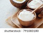 homemade organic coconut greek... | Shutterstock . vector #791083180