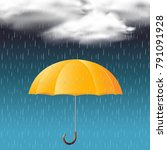 yellow umbrella and rain in the ... | Shutterstock .eps vector #791091928