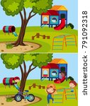 two playground scenes with and... | Shutterstock .eps vector #791092318