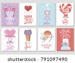 set of cute cards with romantic ... | Shutterstock .eps vector #791097490