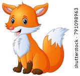 cute fox cartoon | Shutterstock .eps vector #791098963