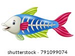 cute x ray fish cartoon | Shutterstock .eps vector #791099074