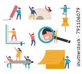 children studying with huge... | Shutterstock .eps vector #791106079