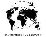 map of the earth. airplane... | Shutterstock .eps vector #791109064