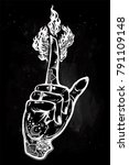 human tattooed hand with magic... | Shutterstock .eps vector #791109148