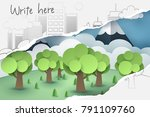 ripped 2d hand drawing of tree... | Shutterstock .eps vector #791109760