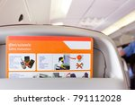 Small photo of Bangkok, Thailand - Jan 11 2018 : safety instruction behind the seat on airplane