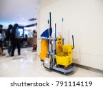 cleaning tools cart wait for...   Shutterstock . vector #791114119