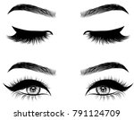 hand drawn woman's sexy makeup... | Shutterstock .eps vector #791124709