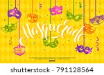mardi gras banner design with... | Shutterstock .eps vector #791128564