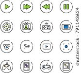 line vector icon set   play... | Shutterstock .eps vector #791143624