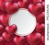 glossy hearts. valentines day... | Shutterstock .eps vector #791154196