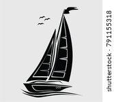 sail ship  boat  sea   vector | Shutterstock .eps vector #791155318