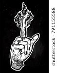 human tattooed hand with magic...   Shutterstock .eps vector #791155588