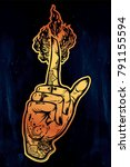 human tattooed hand with magic...   Shutterstock .eps vector #791155594