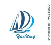 yachting icon of yacht or... | Shutterstock .eps vector #791156530