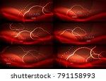 set of red vector neon cloud... | Shutterstock .eps vector #791158993