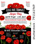 anzac day memorial day card and ... | Shutterstock .eps vector #791161969