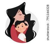 mother hugs son. cartoon style  ...