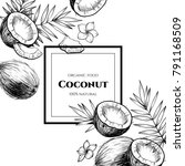 vector frame with coconuts and... | Shutterstock .eps vector #791168509