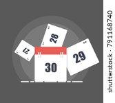 flat calendar pages flying away.... | Shutterstock .eps vector #791168740