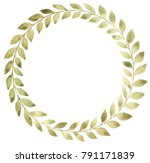 watercolor flower wreath with... | Shutterstock . vector #791171839