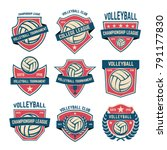 set of volleyball club emblems. ... | Shutterstock .eps vector #791177830