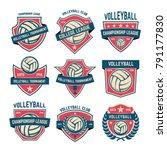 set of volleyball club emblems. ... | Shutterstock .eps vector #791177830