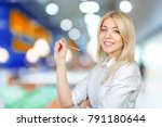 young blond businesswoman... | Shutterstock . vector #791180644