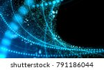 blue illuminated particles and... | Shutterstock . vector #791186044