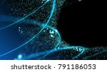 blue illuminated particles and... | Shutterstock . vector #791186053